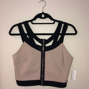 Beige and black strappy crop top. (Large)